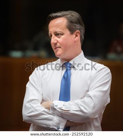 BRUSSELS, BELGIUM - Feb 12, 2015: British Prime Minister David Cameron at the informal EU summit in Brussels (Belgium) - stock photo