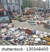 BRUSSELS, BELGIUM - FEBRUARY 9: Daily flea market at Place du Jeu de Balle on February 9, 2013 in Brussels. According to the Guardian, it is the 5th most interesting flea market in Europe. - stock photo