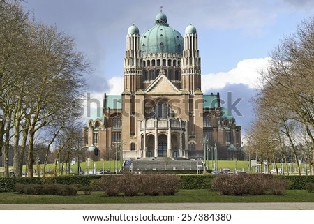 BRUSSELS, BELGIUM - FEBRUARY 21, 2015: National Basilica of Sacred Heart In Koekelberg, Brussels, Belgium - stock photo