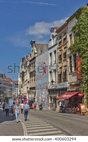 BRUSSELS, BELGIUM JULY 17, 2014: Old street in the center of the city - stock photo
