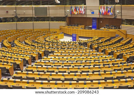 BRUSSELS, BELGIUM - JULY 24, 2014: The European Parliament hemicycle (debating chamber)