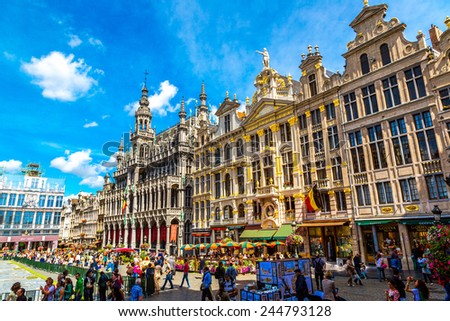 BRUSSELS, BELGIUM - JULY 6: The Grand Place in a beautiful summer day in Brussels, Belgium on July 6 2014 - stock photo
