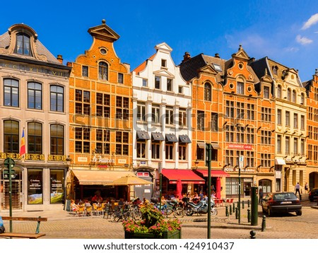 BRUSSELS, BELGIUM - JUNE 4, 2015: Architecture of Brussels, Belgium. Brussels is the capital and largest city of Belgium and the capital of the European Union