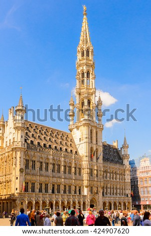 BRUSSELS, BELGIUM - JUNE 4, 2015: City hall on the Grand Place (Grote Markt), the central square of Brussels, the UNESCO World Heritage
