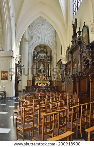 BRUSSELS, BELGIUM-JUNE 2, 2014: Interior of The Saint Nicolas Church in historical center of Brussels.
