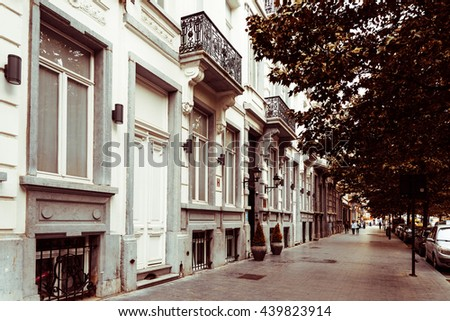 BRUSSELS, BELGIUM - June 16, 2016. Street view of old town in Brussels city, with a population of over 1.8 million, the largest in Belgium. - stock photo