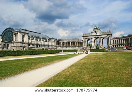 BRUSSELS, BELGIUM - JUNE 30, 2010: The Parc du Cinquantenaire is famous for the big exhibition complex, consisting of the Triumphal Arch and museums, located in its arms, on June 30 in Brussels.