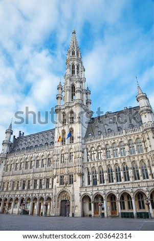 BRUSSELS, BELGIUM - JUNE 15, 2014: Town hall gothic building. Palace was built between 1401 and 1455 and it is a UNESCO World Heritage Site.