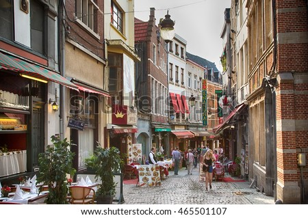 BRUSSELS, BELGIUM - JUNE 23, 2016. View on Rue des Bouchers street is famous for numerous restaurants offering cuisine from any place in the world.