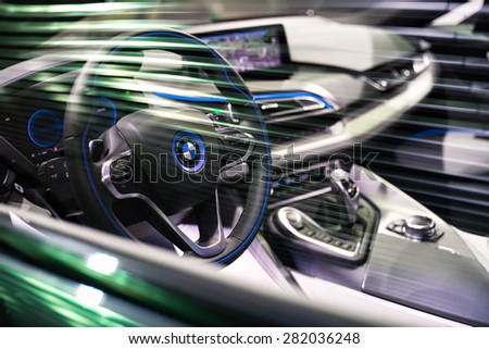 BRUSSELS, BELGIUM - MARCH 25, 2015: Interior view of BMW i8, the newest generation plug-in hybrid sports car developed by BMW. - stock photo