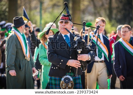 BRUSSELS, BELGIUM - MARCH 16: The annual  Saint Patrick's day parade on a sunny day in Brussels, Belgium, on 16th of March, 2014