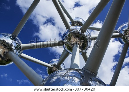 BRUSSELS, BELGIUM - MAY 20: Atomium structure in summer - famous monument and museum, in Brussels, Belgium on May 20, 2015 - stock photo