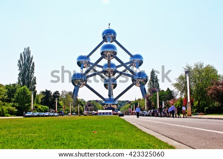 Brussels, Belgium - May 08, 2016 - Atomium, the building in Brussels originally constructed for Expo 58, the 1958 Brussels World's Fair - stock photo