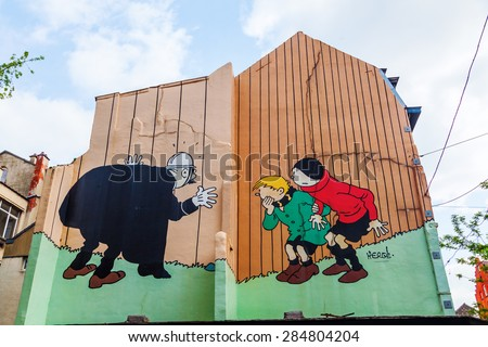 BRUSSELS, BELGIUM - MAY 17, 2015: comic wall painting in Brussels. Belgium is famous for its comics. - stock photo