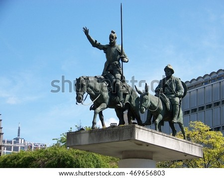 Brussels, Belgium, 4 May, 2016. Don Quixote and Sancho Panza Monument at Spain Square in Brussels, Belgium on 4 May, 2016.