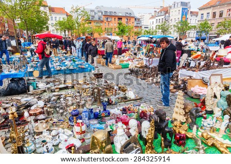 BRUSSELS, BELGIUM - MAY 17, 2015: famous flea market in the Marolles district in Brussels. Brussels is famous for its flea markets and antiquities. - stock photo