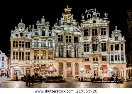 BRUSSELS, BELGIUM - MAY 11, 2014: Night view of the famous Grand Place (Grote Markt) - the central square of Brussels. Grand Place was named by UNESCO as a World Heritage Site in 1998. - stock photo
