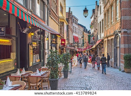 BRUSSELS, BELGIUM - MAY 2, 2016: Restaurants around the Grand Place on May 1, 2016 in Brussels, Belgium.