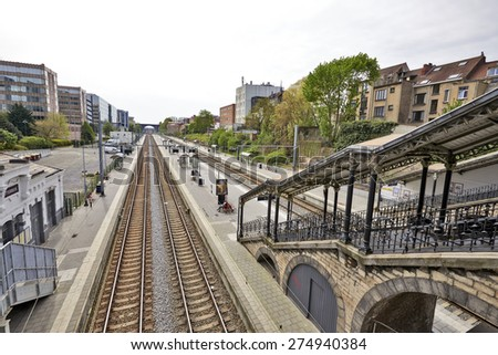 BRUSSELS, BELGIUM - May 01, 2015: The Etterbeek train station in the territory of the commune of Ixelles, near Etterbeek, in the Brussels-Capital Region. - stock photo