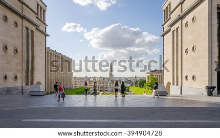 Brussels, Belgium - May 12, 2015: Tourist visit Kunstberg or Mont des Arts (Mount of the arts) gardens in Brussels, Belgium. The Mont des Arts offers one of Brussels' finest views. - stock photo