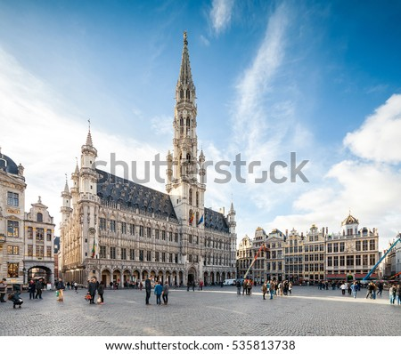 BRUSSELS, BELGIUM - NOVEMBER 3, 2016: Grand Place square in Brussels, famous tourist destination