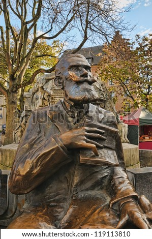 BRUSSELS, BELGIUM-NOVEMBER 9: Memorial of Charles Karel Buls, mayor in 1881-1899 on Agora Square who worked a lot for restorations works of historical sites on November 9, 2012 in Brussels, Belgium.