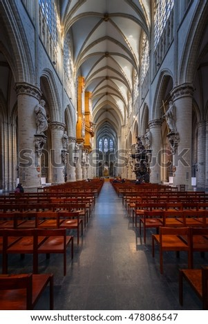 BRUSSELS, BELGIUM-NOVEMBER 23, 2014: The Cathedral of St. Michael and St. Gudula, 1000 year old cathedral in the Capital
