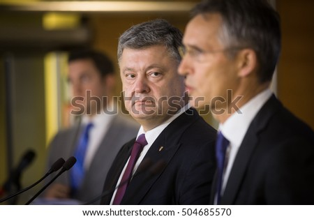 BRUSSELS, BELGIUM - Oct 20, 2016: NATO Secretary General Jens Stoltenberg during a joint briefing with President of Ukraine Petro Poroshenko