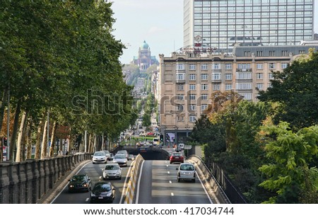 Brussels, Belgium - October 22, 2006: Traffic of cars on a highway leading to the Basilica of the Sacred Heart in Brussels, Belgium on October 22, 2006 - stock photo