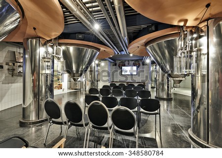 BRUSSELS, BELGIUM - SEPTEMBER 21, 2015: Section of the New story of beer in the brewery museum in the house of Belgian Brewers at 10 Grand Place in Brussels, Belgium