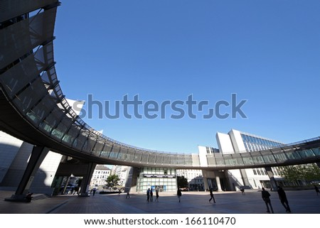 BRUSSELS, BELGIUM - SEPTEMBER 15 2013: The European Parliament in Brussels open its doors for starting the quarterly Union meeting - stock photo