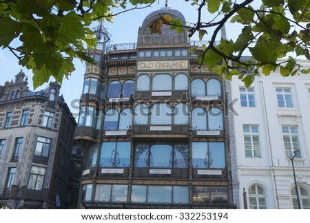 BRUSSELS, BELGIUM - SEPTEMBER 27, 2015 - The Musical Instrument Museum in the former Old England department store on the Coudenberg street in Brussels - stock photo