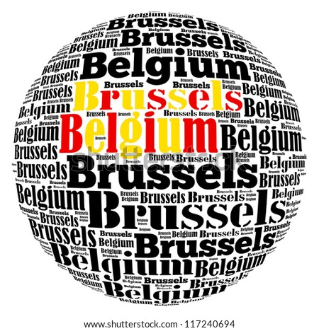 Brussels capital city of Belgium info-text graphics and arrangement concept on white background (word cloud) - stock photo