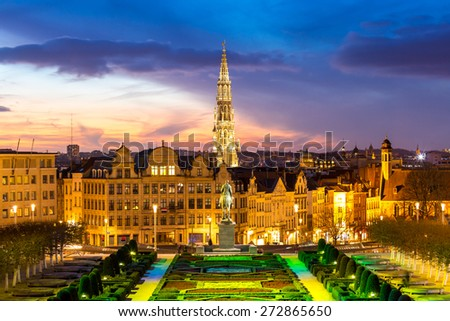 Brussels Cityscape from Monts des Arts at dusk, Belgium - stock photo