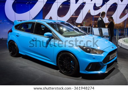 BRUSSELS - JAN 12, 2016: Ford Focus RS on display at the Brussels Motor Show. - stock photo