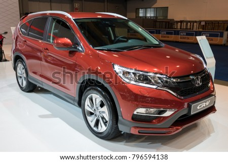 BRUSSELS   JAN 10, 2018: Honda CR V Sporty SUV Car Showcased At
