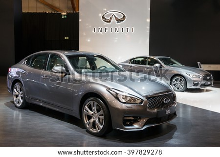 BRUSSELS - JAN 12, 2016: Infiniti Q70 car on display at the Brussels Motor Show. - stock photo