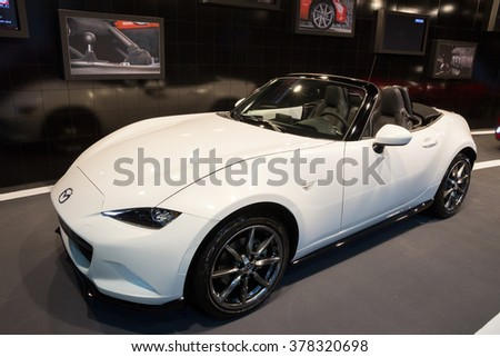 BRUSSELS - JAN 12, 2016: Mazda MX-5 on display at the Brussels Motor Show.