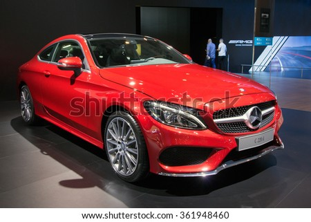 BRUSSELS - JAN 12, 2016: Mercedes-Benz C-Class saloon C220d on display at the Brussels Motor Show. - stock photo