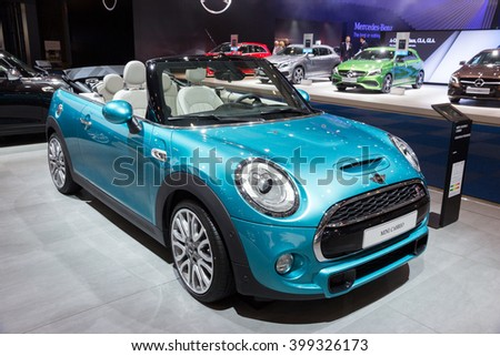 BRUSSELS - JAN 12, 2016: Mini Cooper S Cabrio on display at the Brussels Motor Show.