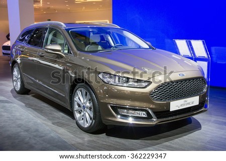 BRUSSELS - JAN 12, 2016: New Ford Mondeo Vignale on display at the Brussels Motor Show.