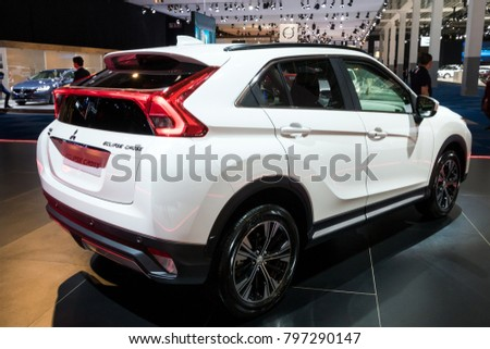 BRUSSELS   JAN 10, 2018: New Mitsubishi Eclipse Cross Sport Compact Car  Shown At