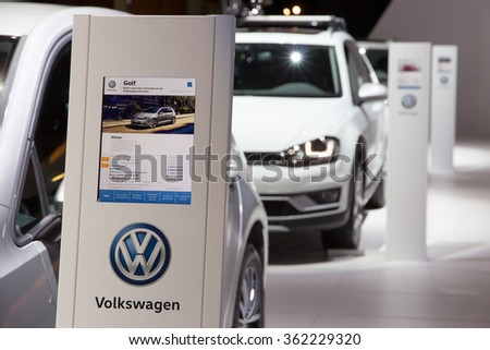 BRUSSELS - JAN 12, 2016: New Volkswagen cars on display at the Brussels Motor Show. - stock photo
