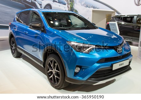 BRUSSELS - JAN 12, 2016: Toyota RAV4 on display at the Brussels Motor Show. - stock photo