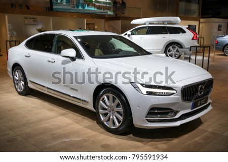 BRUSSELS - JAN 10, 2018: Volvo S90 car presented at the Brussels Motor Show.