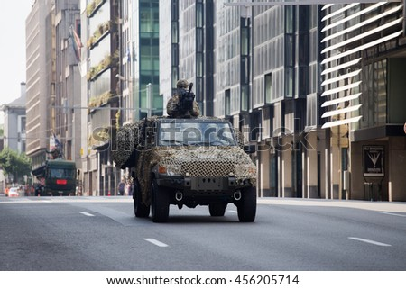 BRUSSELS - JULY 21: Armored vehicles during the military parade on the Belgium National Day. Photo taken on July 21, 2016 in Brussels, Belgium.