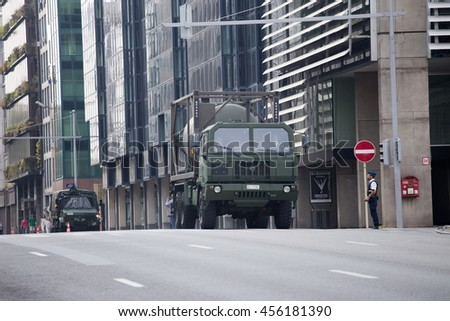 BRUSSELS - JULY 21: Army oil tanker during the military parade on the Belgium National Day. Photo taken on July 21, 2016 in Brussels, Belgium.