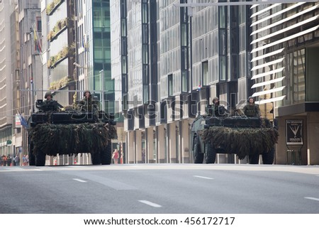 BRUSSELS - JULY 21:  Light armored vehicles of Netherlands army during the military parade on the Belgium National Day. Photo taken on July 21, 2016 in Brussels, Belgium.