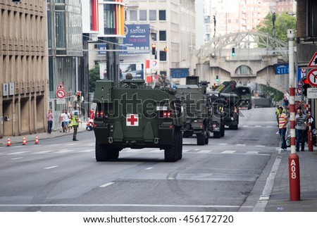 BRUSSELS - JULY 21: Medical armored vehicles during the military parade on the Belgium National Day. Photo taken on July 21, 2016 in Brussels, Belgium.
