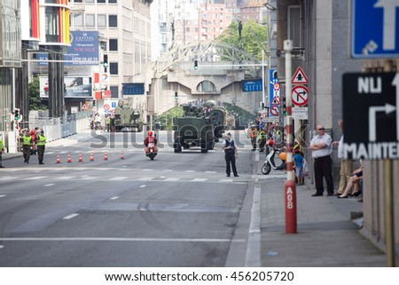 BRUSSELS - JULY 21: Military vehicles during the military parade on the Belgium National Day. Photo taken on July 21, 2016 in Brussels, Belgium.